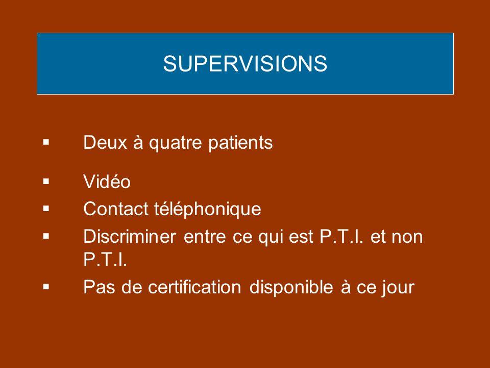 SUPERVISIONS Deux à quatre patients Vidéo Contact téléphonique