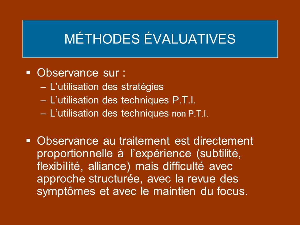 MÉTHODES ÉVALUATIVES Observance sur :