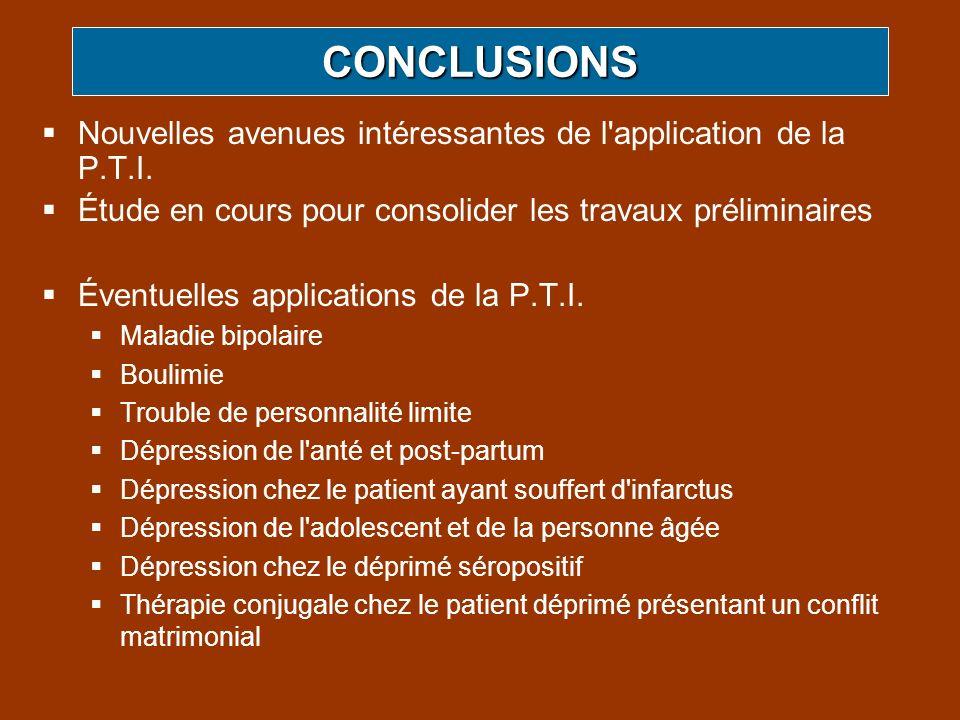 CONCLUSIONS Nouvelles avenues intéressantes de l application de la P.T.I. Étude en cours pour consolider les travaux préliminaires.