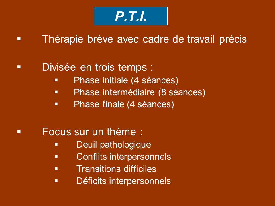P.T.I. Thérapie brève avec cadre de travail précis