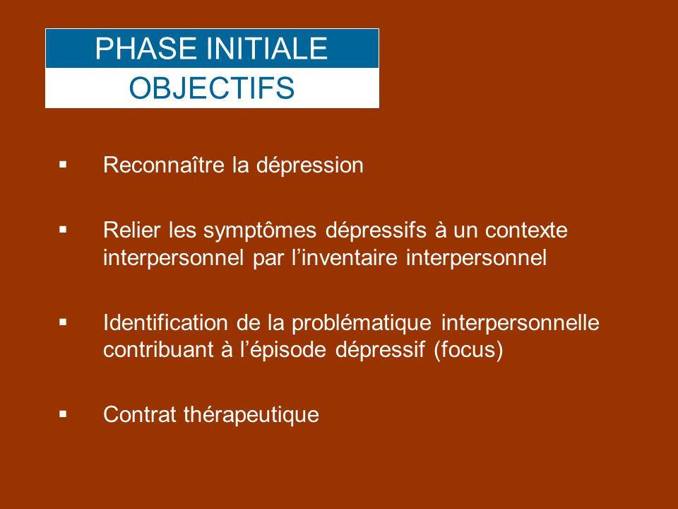 PHASE INITIALE OBJECTIFS Reconnaître la dépression