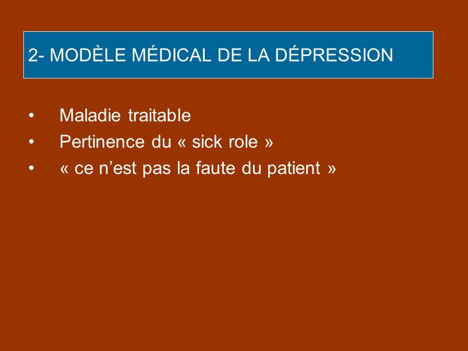 2- MODÈLE MÉDICAL DE LA DÉPRESSION