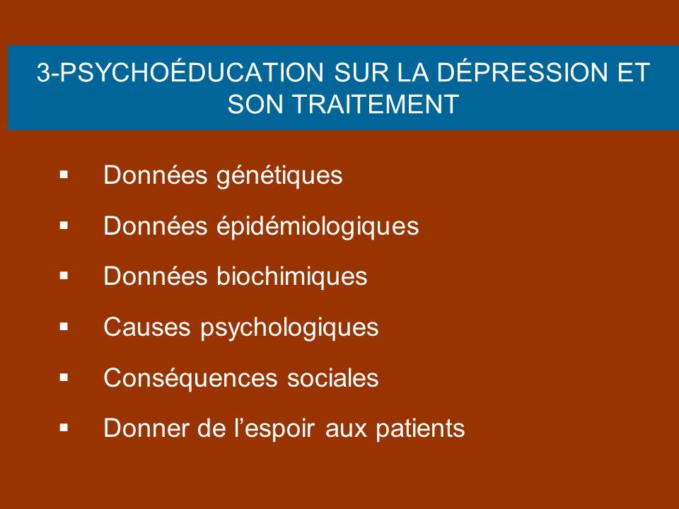3-PSYCHOÉDUCATION SUR LA DÉPRESSION ET SON TRAITEMENT