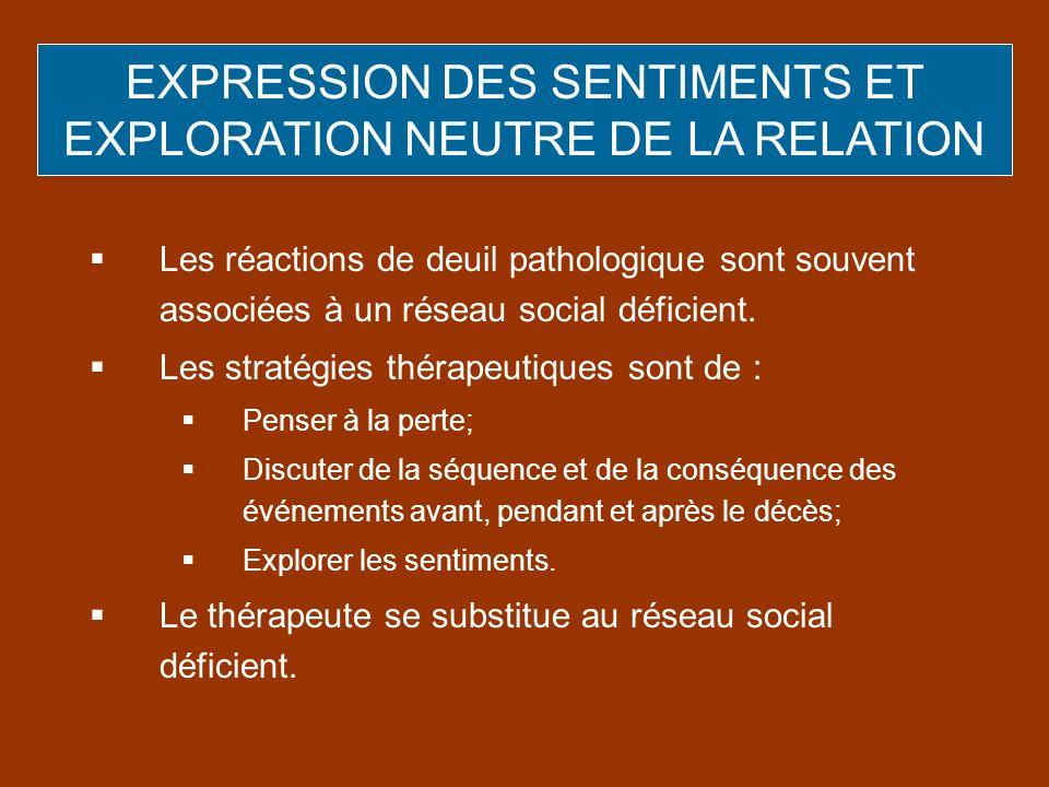 EXPRESSION DES SENTIMENTS ET EXPLORATION NEUTRE DE LA RELATION