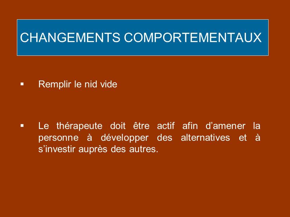CHANGEMENTS COMPORTEMENTAUX