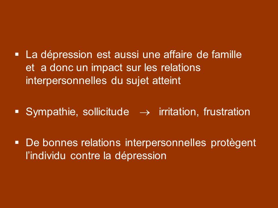 La dépression est aussi une affaire de famille et a donc un impact sur les relations interpersonnelles du sujet atteint