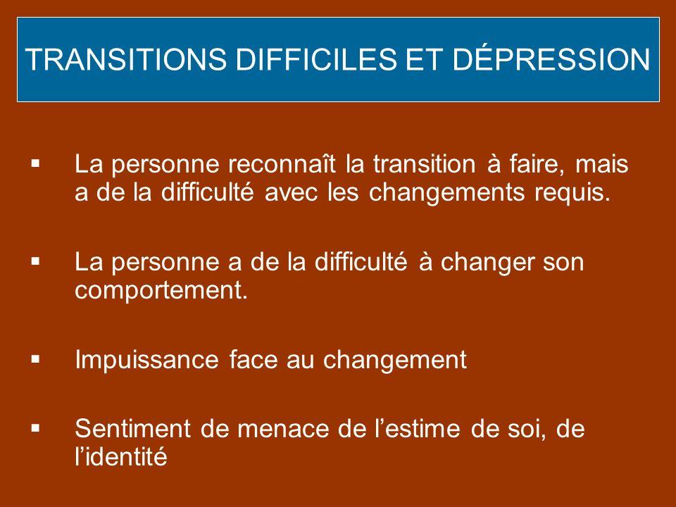 TRANSITIONS DIFFICILES ET DÉPRESSION
