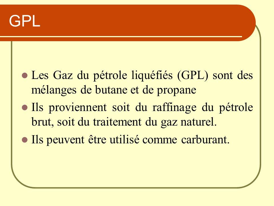 GPL Les Gaz du pétrole liquéfiés (GPL) sont des mélanges de butane et de propane.