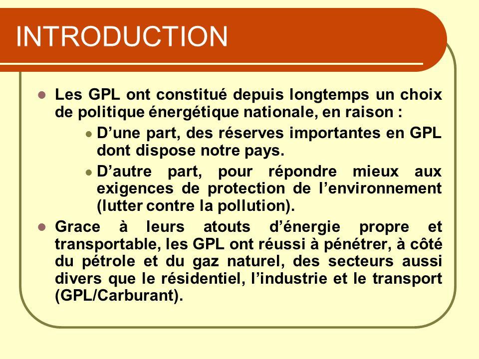 INTRODUCTION Les GPL ont constitué depuis longtemps un choix de politique énergétique nationale, en raison :