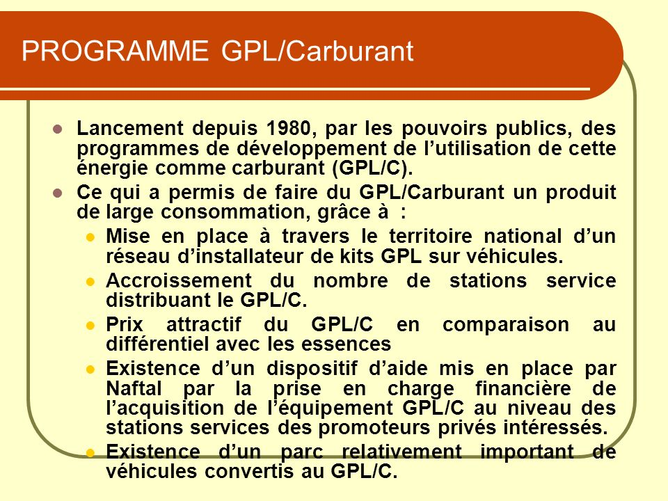 PROGRAMME GPL/Carburant