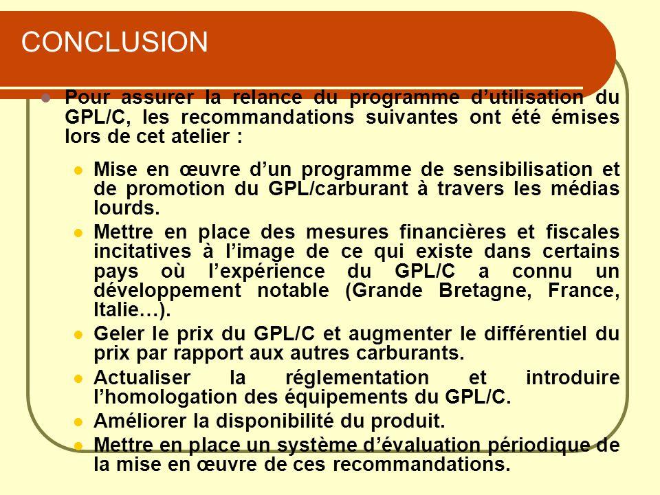 CONCLUSION Pour assurer la relance du programme d'utilisation du GPL/C, les recommandations suivantes ont été émises lors de cet atelier :