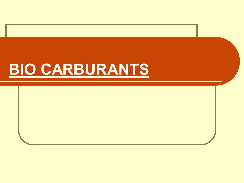 BIO CARBURANTS