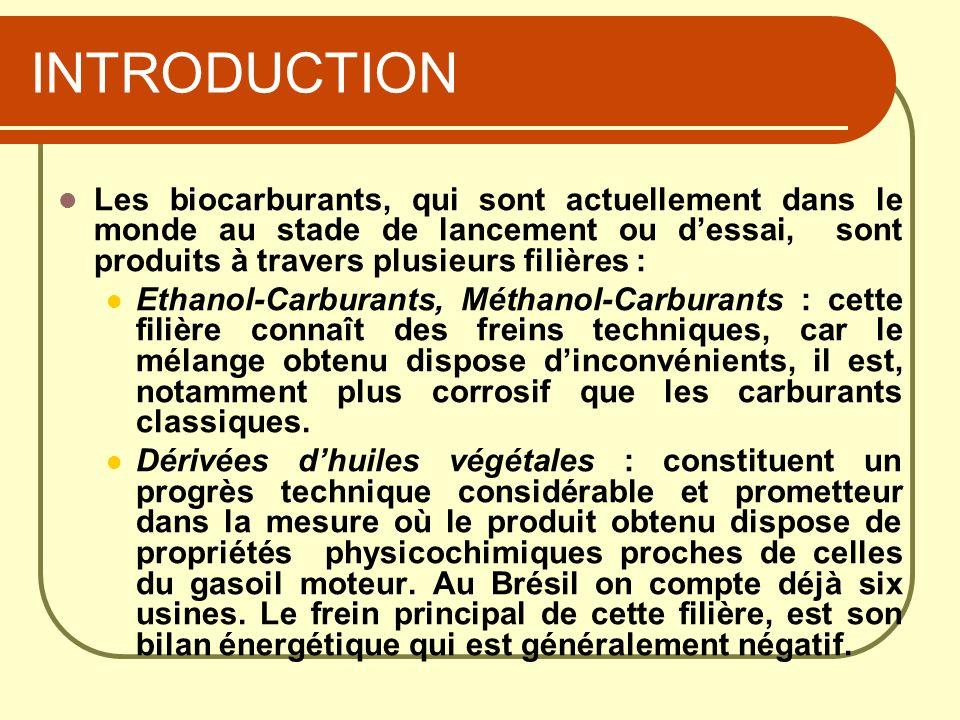 INTRODUCTION Les biocarburants, qui sont actuellement dans le monde au stade de lancement ou d'essai, sont produits à travers plusieurs filières :