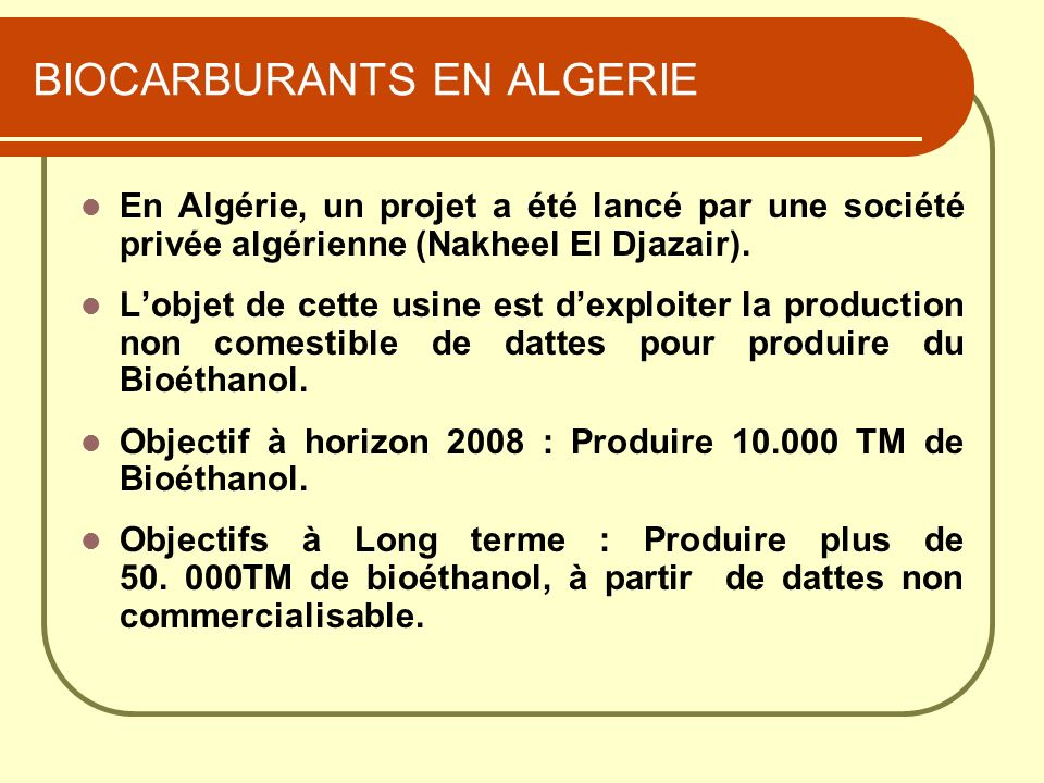 BIOCARBURANTS EN ALGERIE