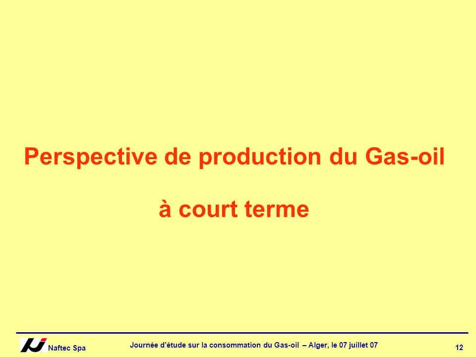 Perspective de production du Gas-oil