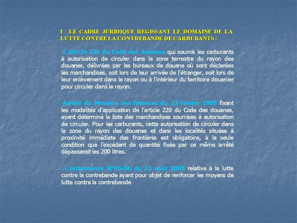 I / LE CADRE JURIDIQUE REGISSANT LE DOMAINE DE LA LUTTE CONTRE LA CONTREBANDE DE CARBURANTS :