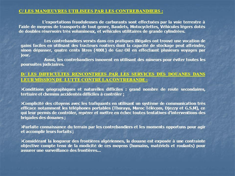 C/ LES MANŒUVRES UTILISEES PAR LES CONTREBANDIERS :