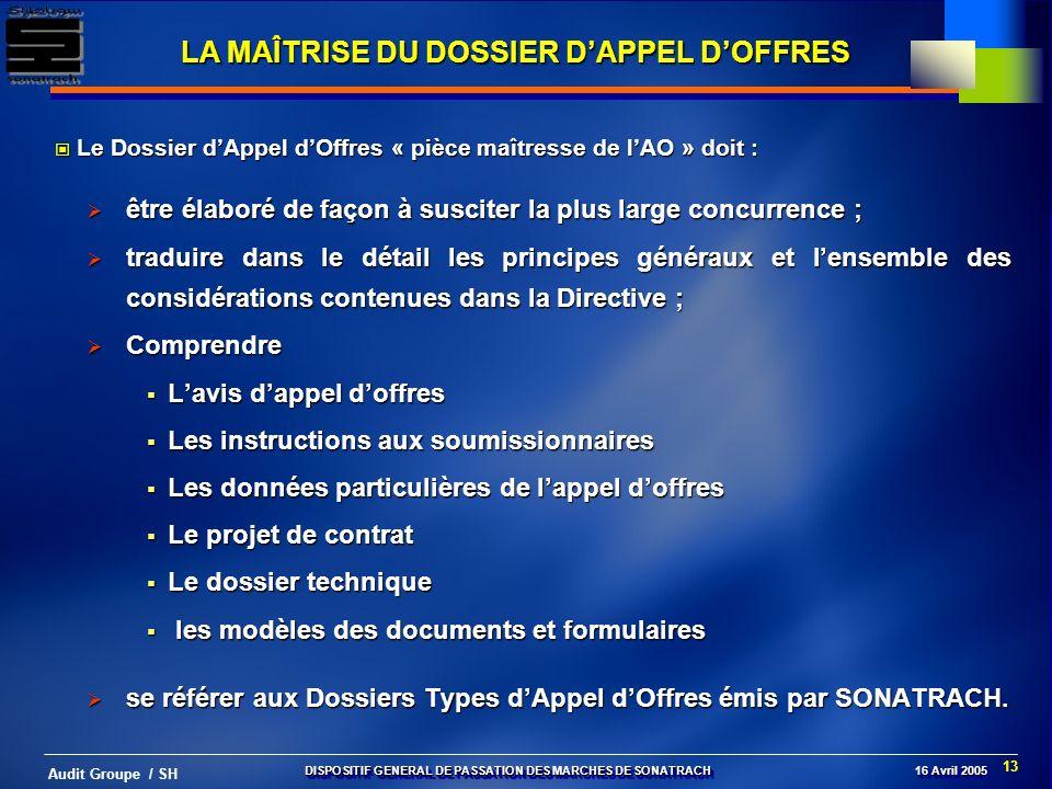 LA MAÎTRISE DU DOSSIER D'APPEL D'OFFRES