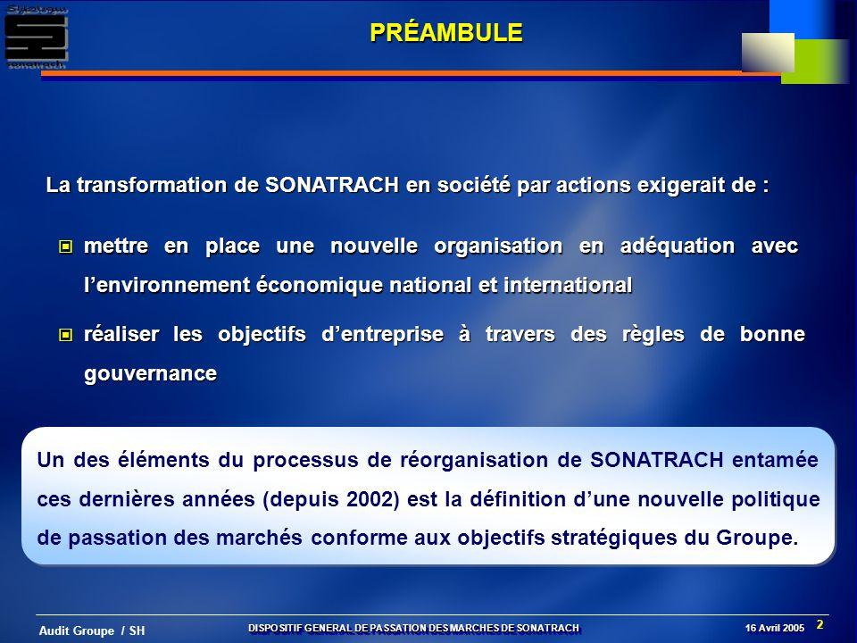 PRÉAMBULELa transformation de SONATRACH en société par actions exigerait de :