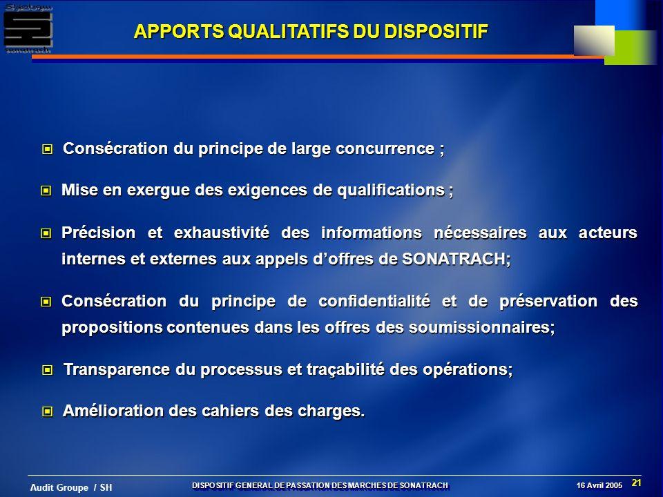 APPORTS QUALITATIFS DU DISPOSITIF