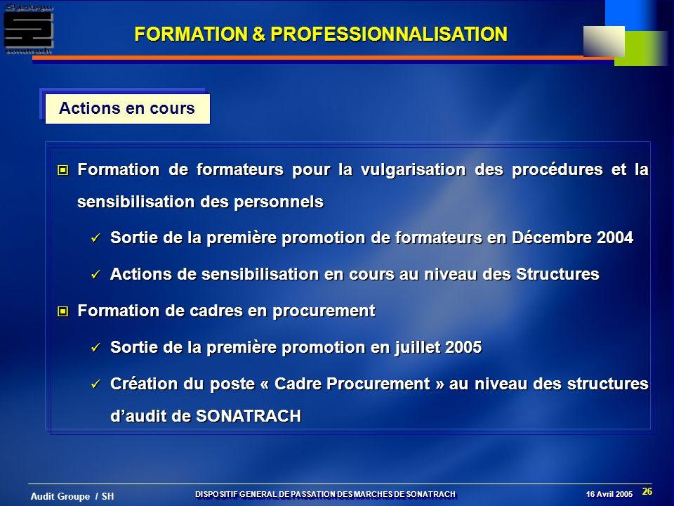 FORMATION & PROFESSIONNALISATION