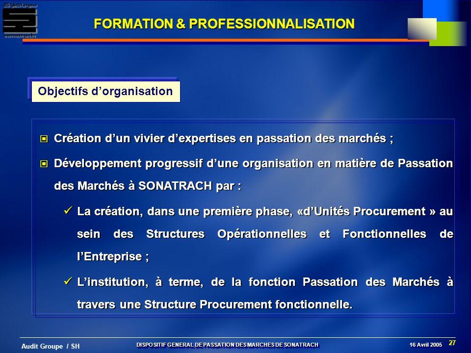 FORMATION & PROFESSIONNALISATION Objectifs d'organisation