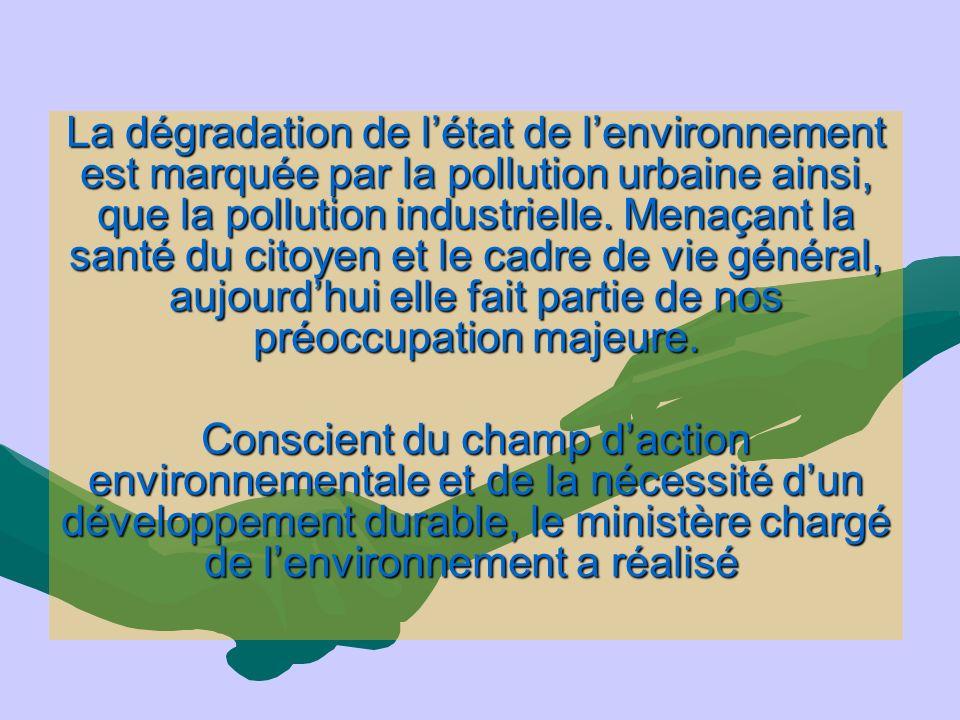 La dégradation de l'état de l'environnement est marquée par la pollution urbaine ainsi, que la pollution industrielle. Menaçant la santé du citoyen et le cadre de vie général, aujourd'hui elle fait partie de nos préoccupation majeure.