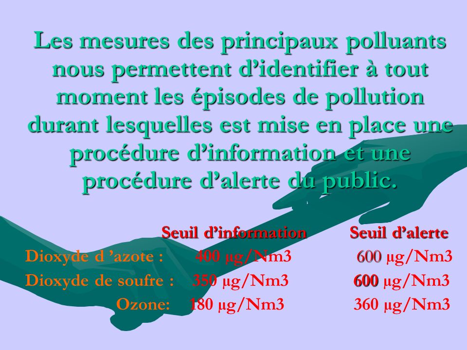 Les mesures des principaux polluants nous permettent d'identifier à tout moment les épisodes de pollution durant lesquelles est mise en place une procédure d'information et une procédure d'alerte du public.
