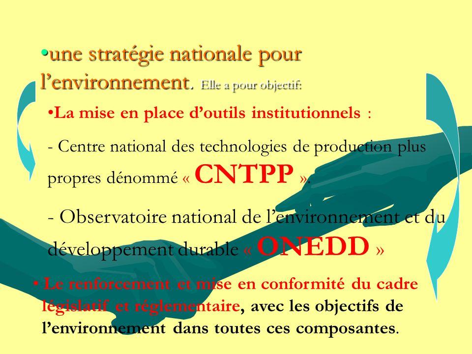 une stratégie nationale pour l'environnement. Elle a pour objectif: