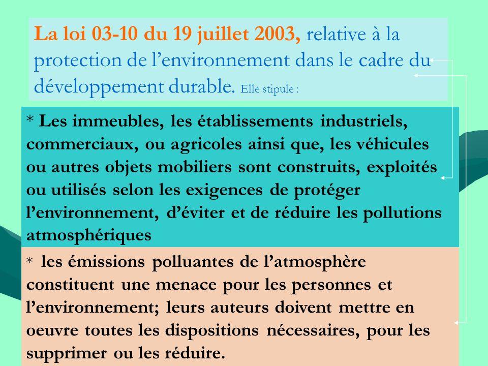 La loi 03-10 du 19 juillet 2003, relative à la protection de l'environnement dans le cadre du développement durable. Elle stipule :