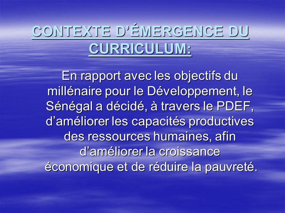 CONTEXTE D'ÉMERGENCE DU CURRICULUM: