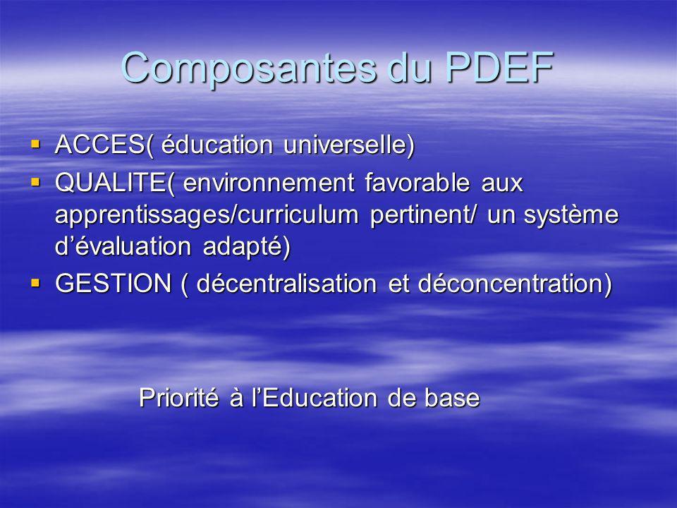 Composantes du PDEF ACCES( éducation universelle)