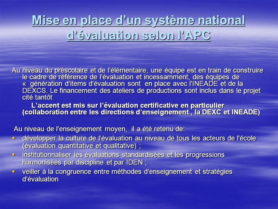 Mise en place d'un système national d'évaluation selon l'APC