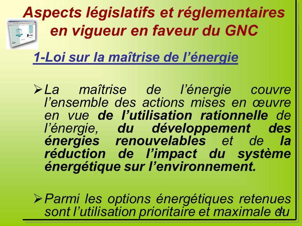 Aspects législatifs et réglementaires en vigueur en faveur du GNC