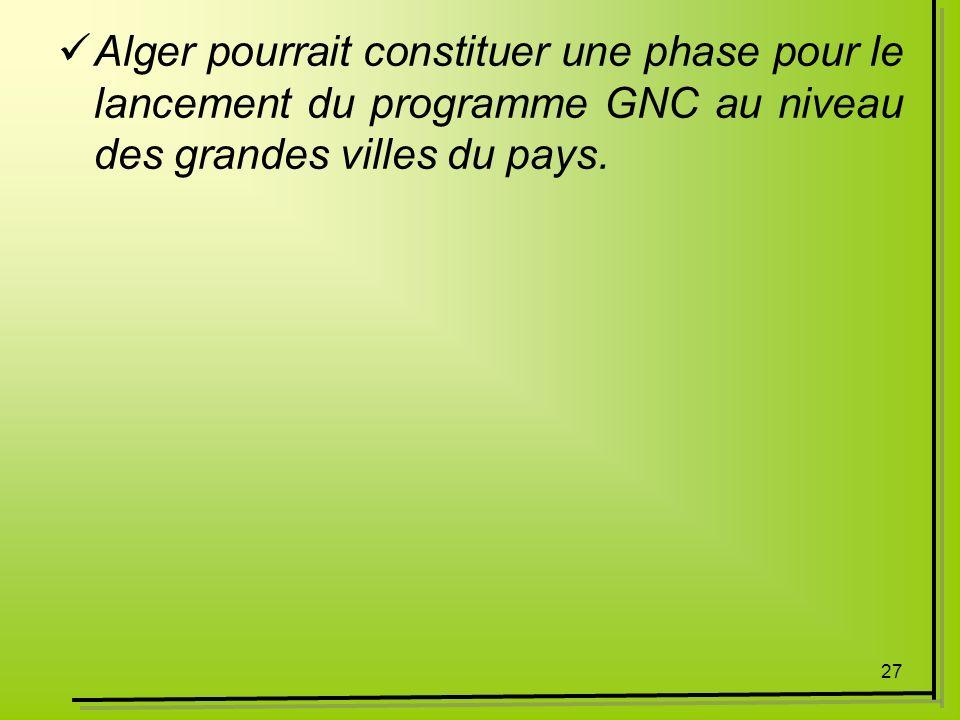 Alger pourrait constituer une phase pour le lancement du programme GNC au niveau des grandes villes du pays.
