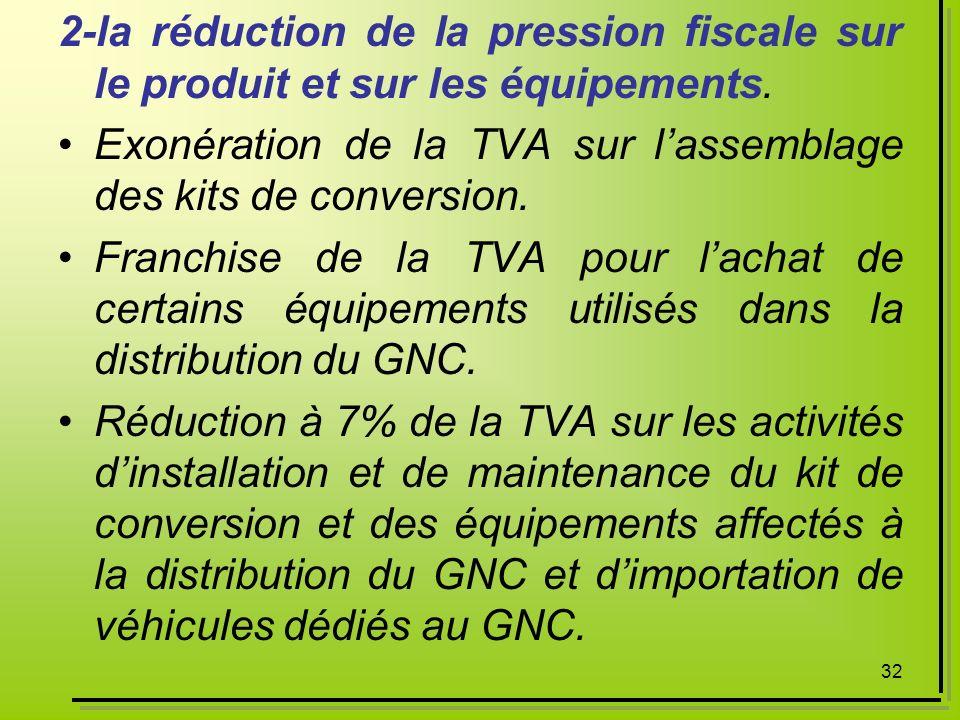 2-la réduction de la pression fiscale sur le produit et sur les équipements.