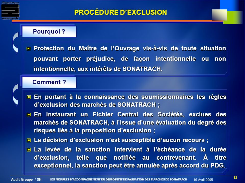 PROCÉDURE D'EXCLUSION