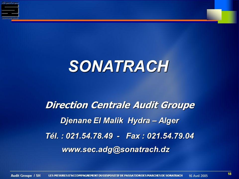 Direction Centrale Audit Groupe Djenane El Malik Hydra – Alger