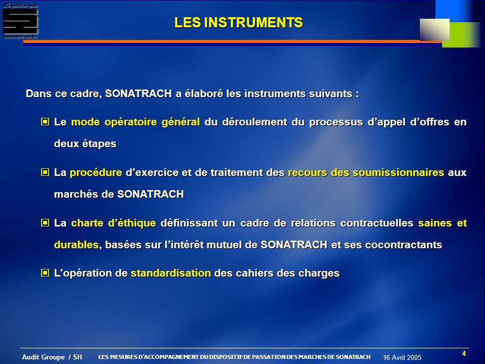 LES INSTRUMENTS Dans ce cadre, SONATRACH a élaboré les instruments suivants :