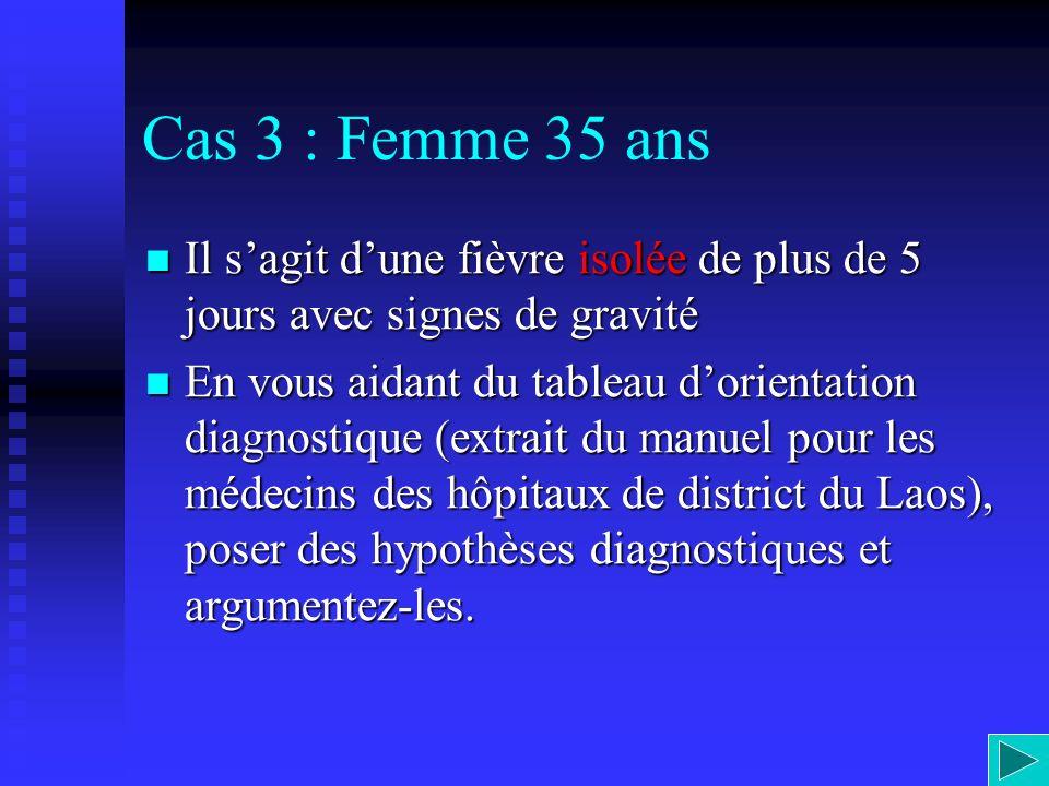 Cas 3 : Femme 35 ans Il s'agit d'une fièvre isolée de plus de 5 jours avec signes de gravité.