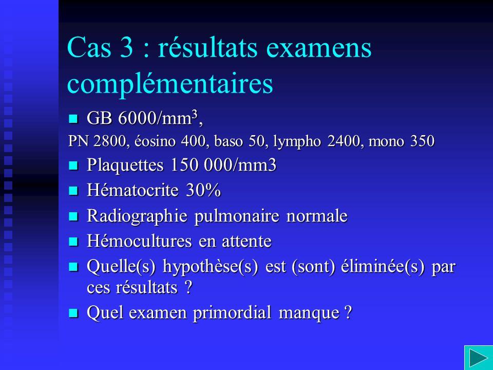 Cas 3 : résultats examens complémentaires