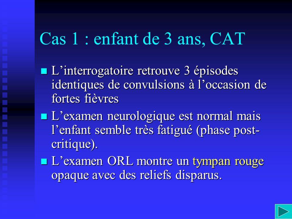 Cas 1 : enfant de 3 ans, CAT L'interrogatoire retrouve 3 épisodes identiques de convulsions à l'occasion de fortes fièvres.
