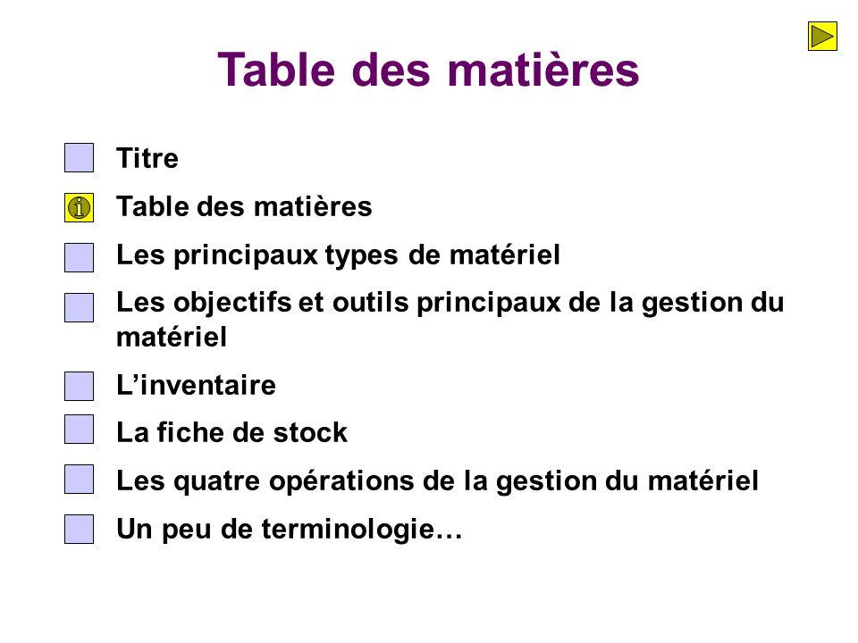 Table des matières Titre Table des matières