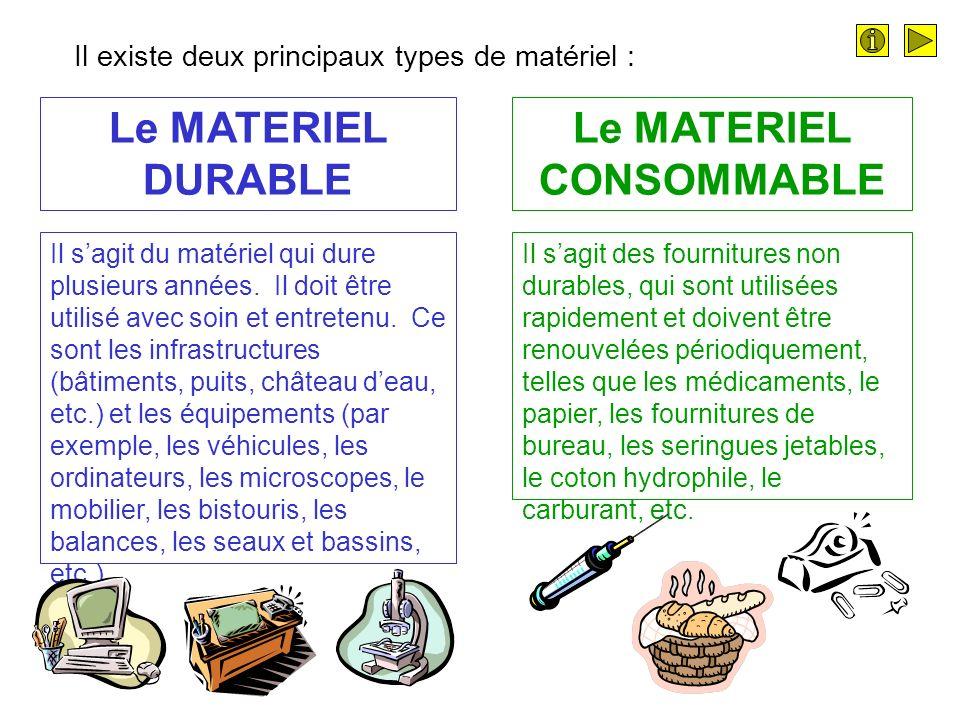 Le MATERIEL CONSOMMABLE