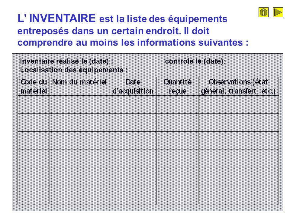 L' INVENTAIRE est la liste des équipements entreposés dans un certain endroit. Il doit comprendre au moins les informations suivantes :