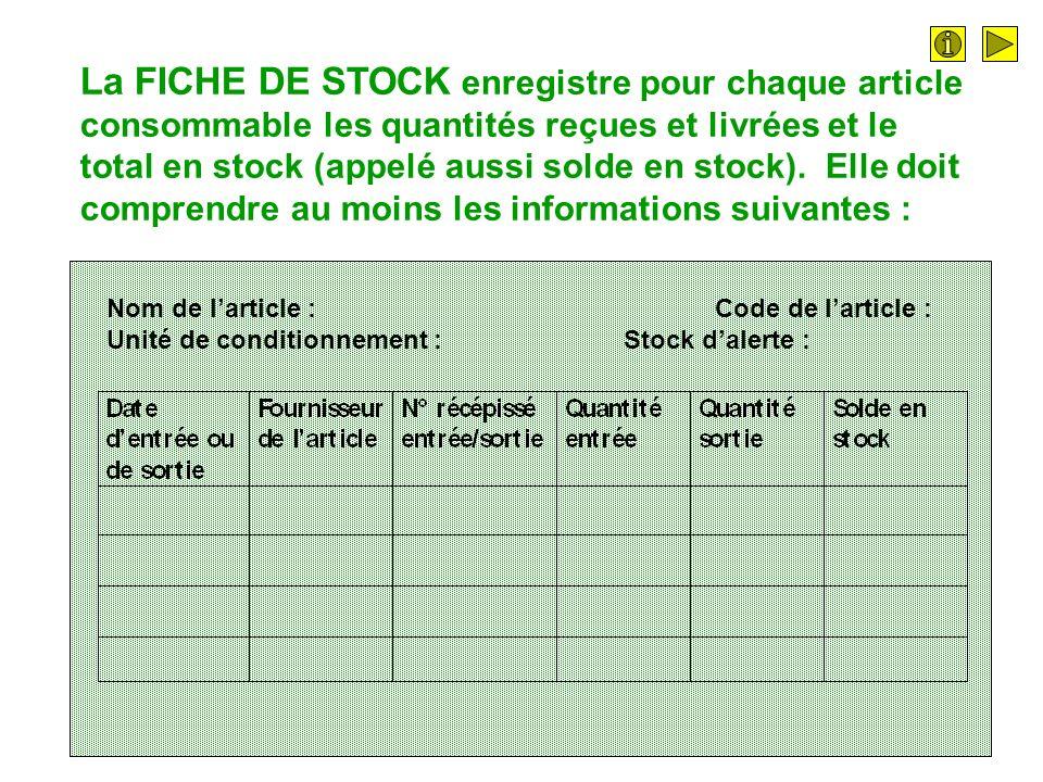 La FICHE DE STOCK enregistre pour chaque article consommable les quantités reçues et livrées et le total en stock (appelé aussi solde en stock). Elle doit comprendre au moins les informations suivantes :