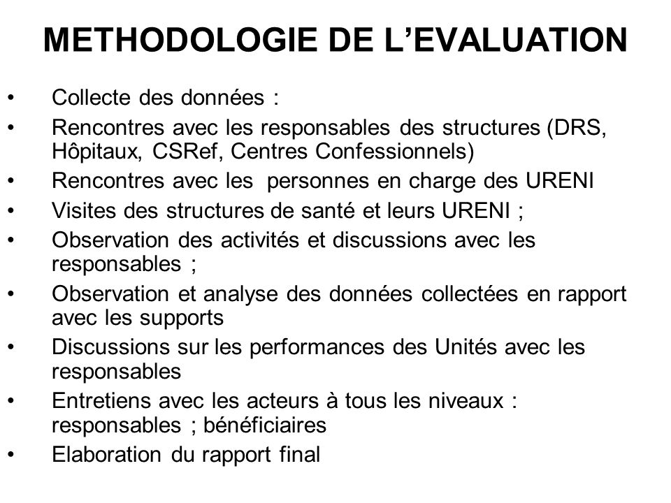 METHODOLOGIE DE L'EVALUATION
