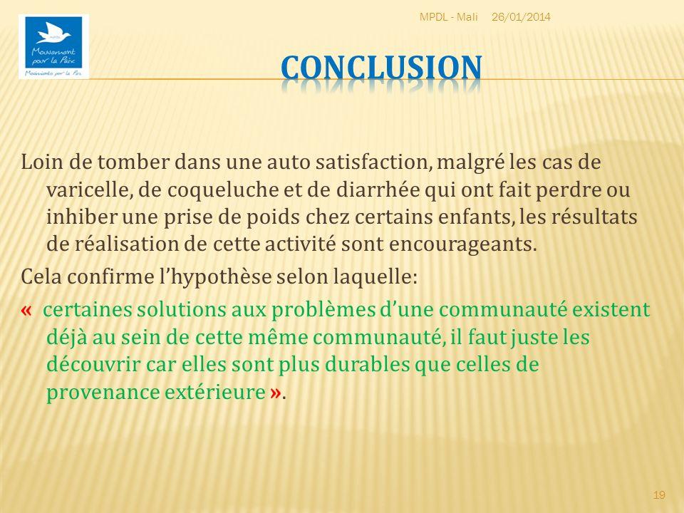 MPDL - Mali 26/03/2017. Conclusion.
