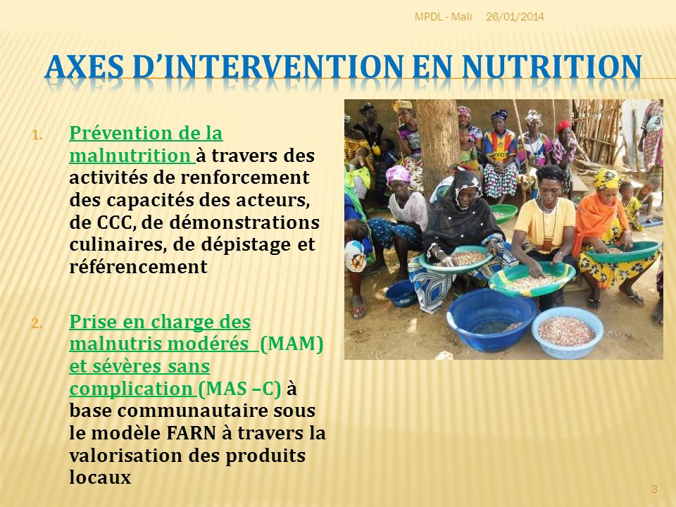 Axes d'intervention en nutrition