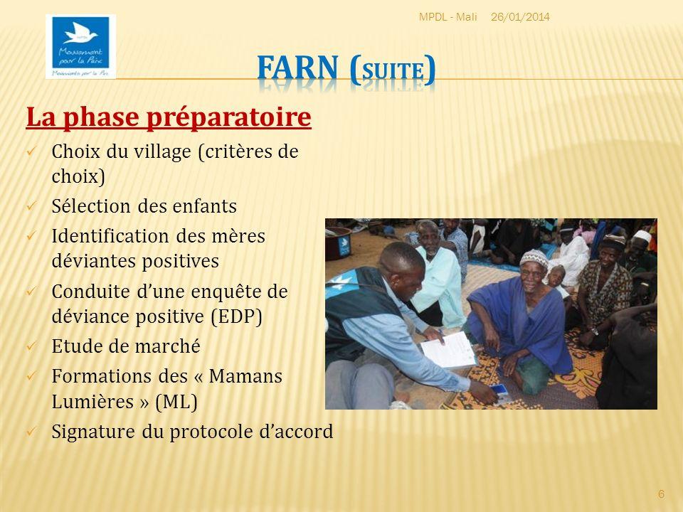 FARN (suite) La phase préparatoire